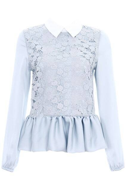 ROMWE Flouncing Cut-out Lace Crochet Grey Blouse