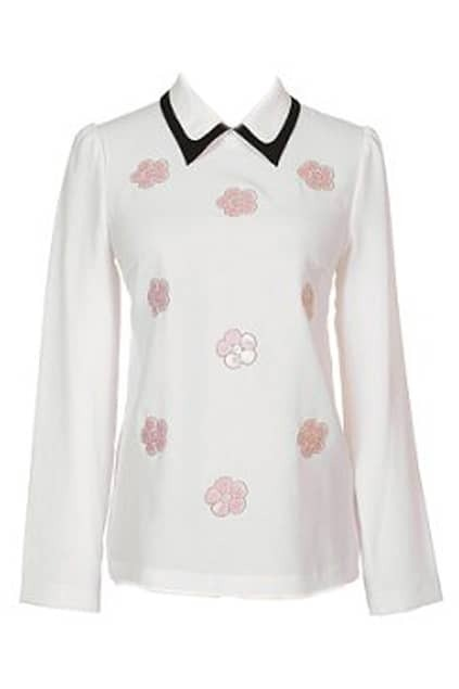 ROMWE Spun Gold Flower Embroidered White Blouse