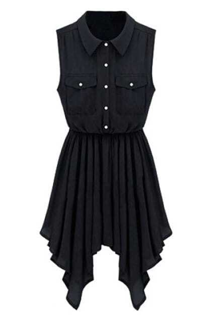 Sleeveless Buttoned Asymmetric Pleated Black Dress