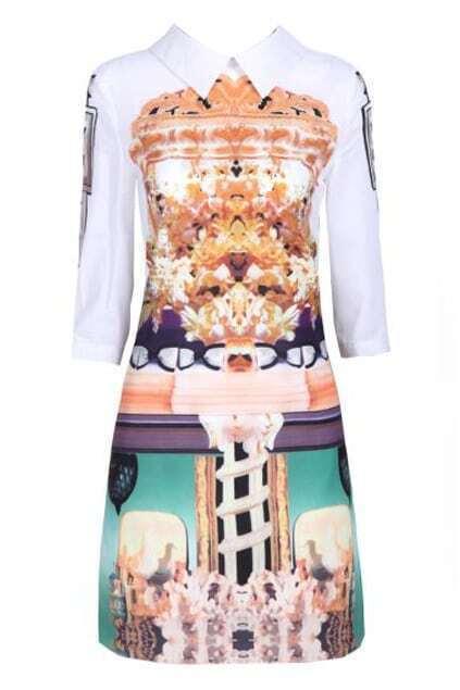 Lapels Retro Floral Print White Loose Dress