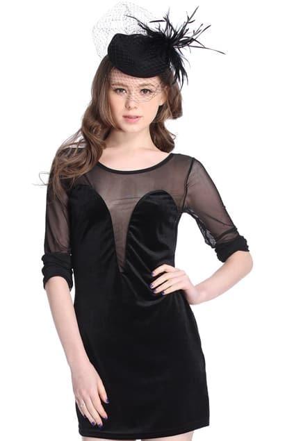 Mesh Panel Transparent Black Slim Dress