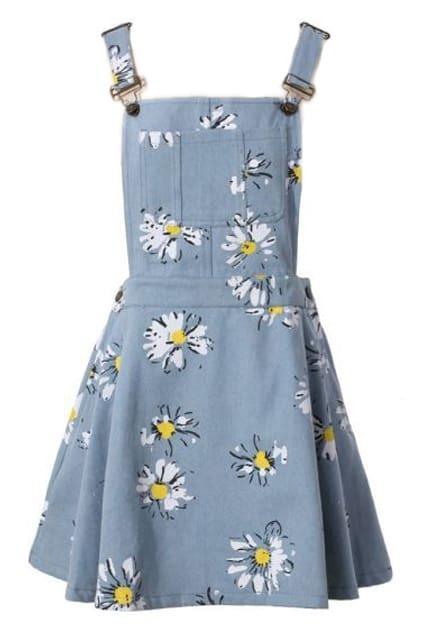 Pocketed Floral Print Light Blue Suspender Dress