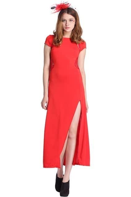 Cut-out Split Lace Red Maxi Dress