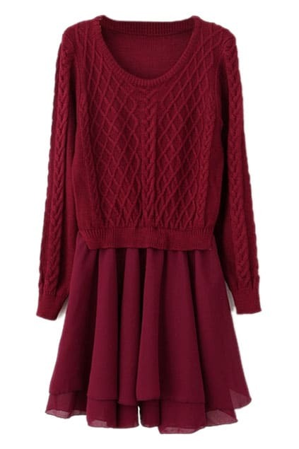 Geo Pattern Contrast Chiffon Red Dress