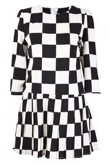 Plaid Chiffon Black Dress