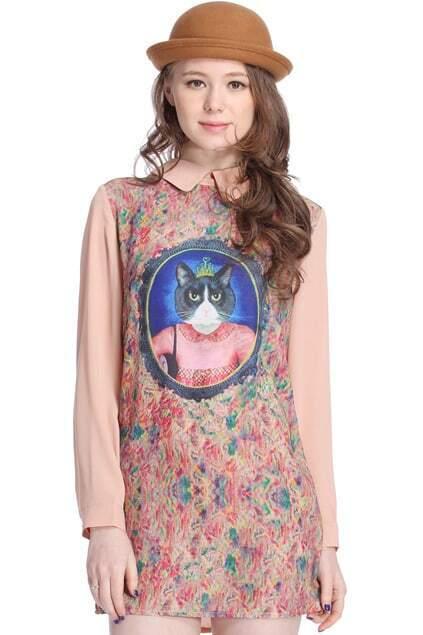 ROMWE Queen Cat Print Pink Floral Dress