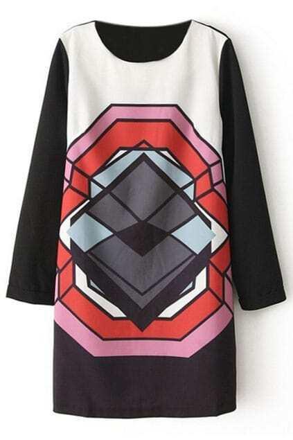 Geometric Rhombus Print Dress
