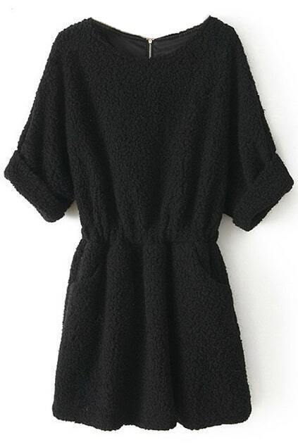 Rolled-up Pleated Black Dress