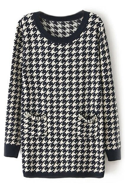 Fake Pearl Houndstooth Long Sleeve Dark-blue Dress