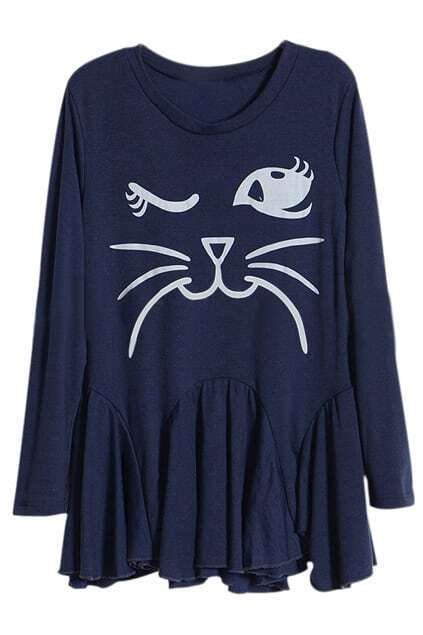 Romwe Cat Face Pleated Long-sleeved Blue Dress