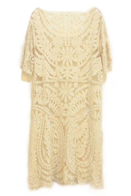 ROMWE Cut-out Crochet Short Sleeves Apricot Dress