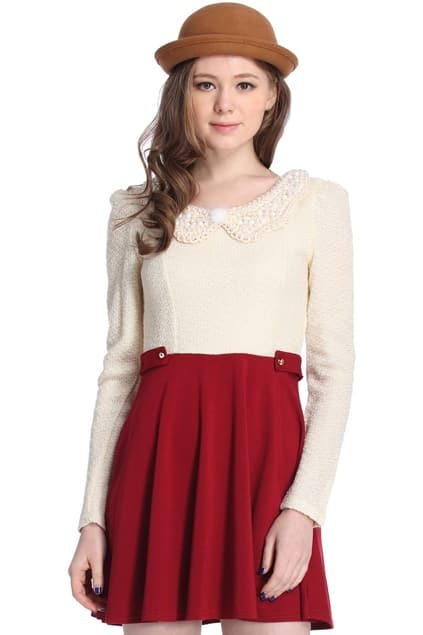 ROMWE Color Block Pearls Long Sleeves Burgundy Dress
