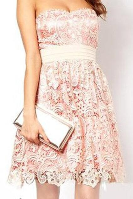 Romwe Double-layered Embroidered Apricot Bandeau Dress