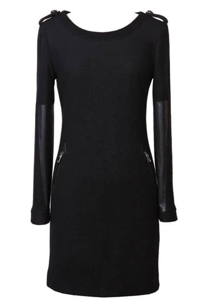 ROMWE Long Sleeves Panel Zippered Black Dress