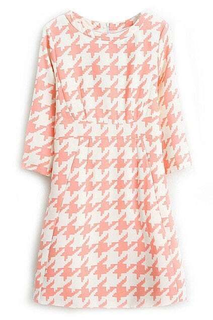 ROMWE Houndstooth Print Slim Pink Dress