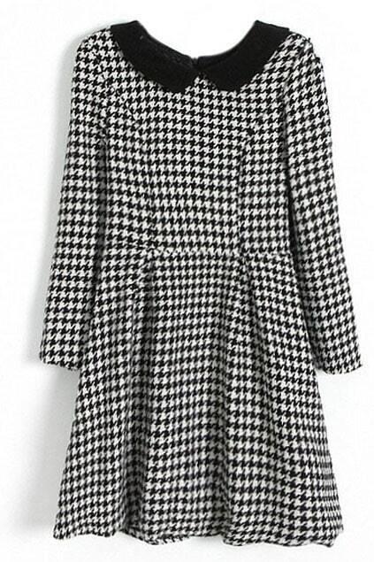 ROMWE Dual-tone Houndstooth Print Black Dress