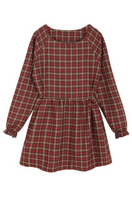 ROMWE Checkered Puff Sleeve Red Doll Dress