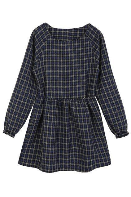ROMWE Checkered Puff Sleeve Blue Doll Dress