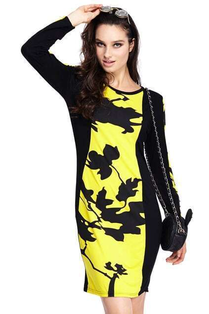ROMWE Zippered Leaves Print Long Sleeved Yellow Dress
