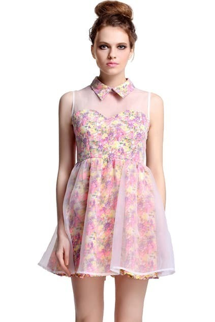 Dual-tone Sleeveless Floral Dress