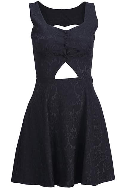 Cut-out Buttoned Black Dress