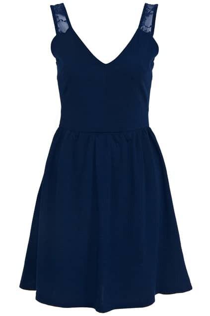 Lace Shoulder V-neckline Dark Blue Dress