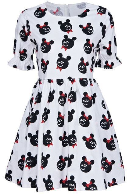 Little Bear With Bow Print White Dress