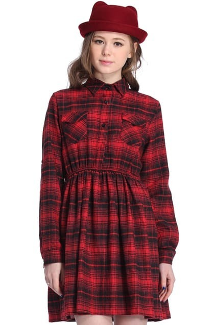 Red Plaid Long-sleeved Dress