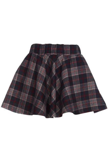 Khaki Plaid Skater Skirt