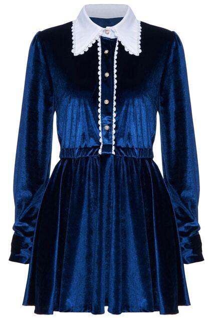 ROMWE Long-sleeved Blue Velvet Dress