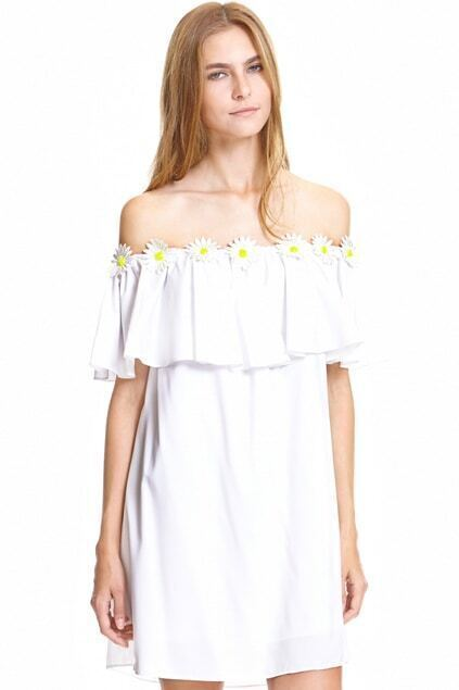 Daisy Embroidery Embellished Flouncing White Dress