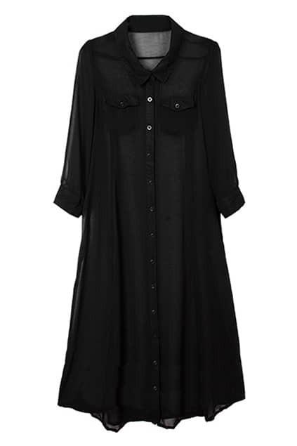Buttoned Black Maxi Dress