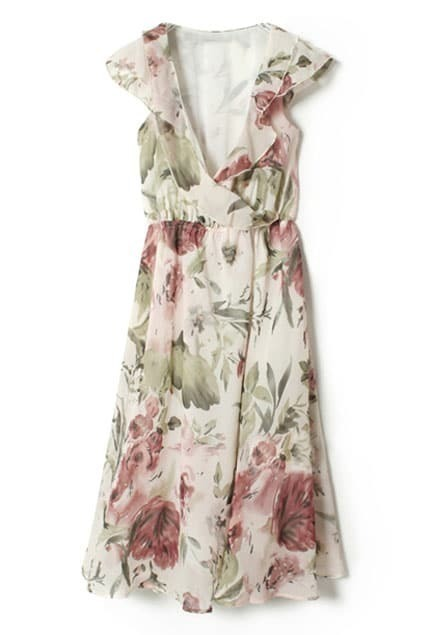 Flower Print V Neck Dress