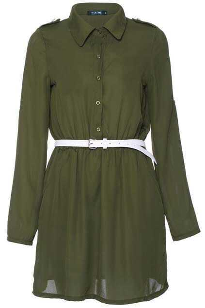 Single-breasted Buttoned Green Dress