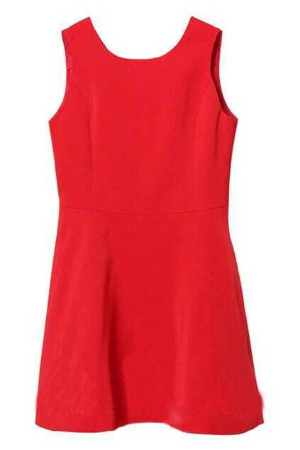 Wave Hem Red Dress