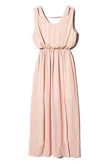 Cut-out Pink Maxi Dress