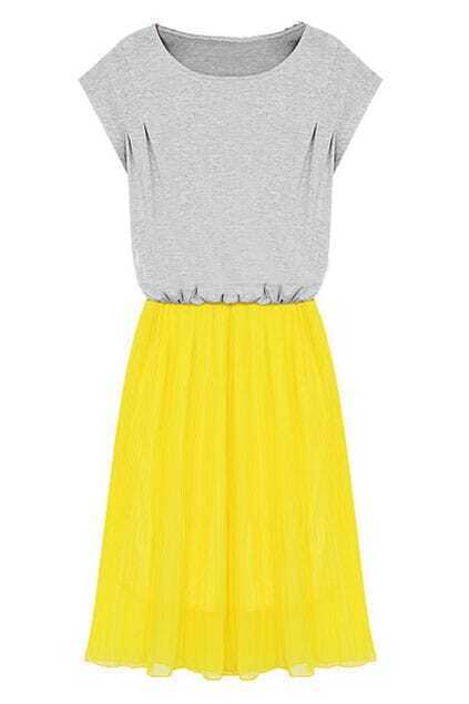 Color Block Pleated Yellow Dress