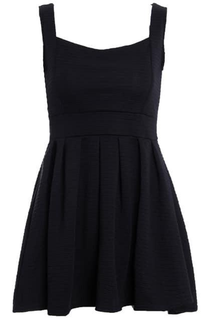 Sleeveless Pleated Black Dress