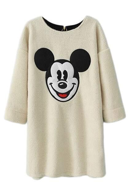ROMWE Mickey Mouse Print White Dress