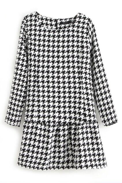 ROMWE Houndstooth Pleated Zippered Long Sleeves Dress