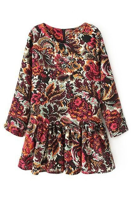 ROMWE Pleated Floral Print Long-sleeves Red Dress