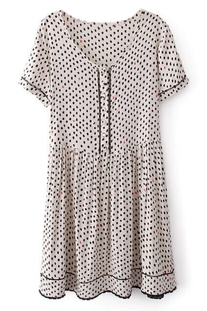 ROMWE Dots Print Pleated Slim Shirt Dress