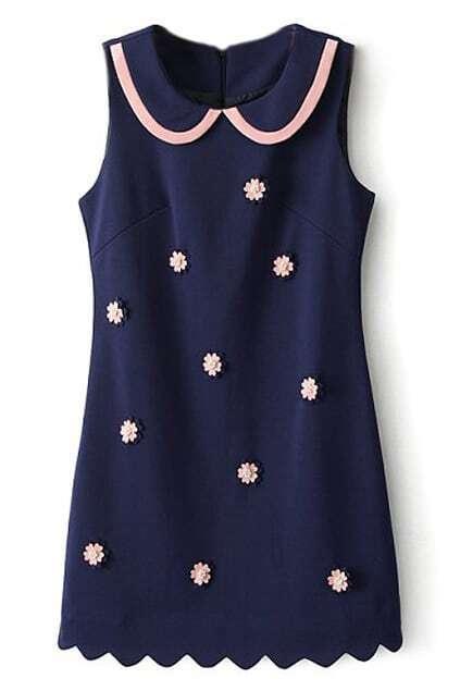 ROMWE Wave Hem Crystal Flower Patch Blue Dress