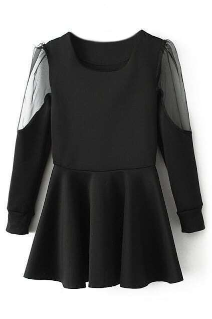 ROMWE Panel Transparent Long Sleeves Pleated Black Dress