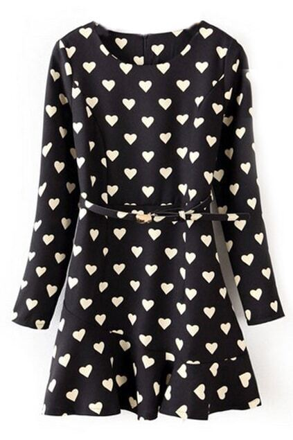 ROWME Hearts Print Flouncing Belted Black Dress