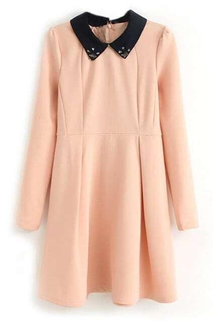 ROMWE Dual-tone Diamante Pleated Pink Dress