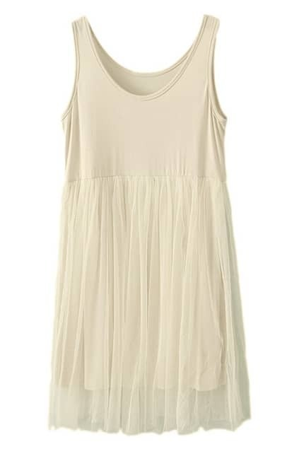 ROMWE Mesh Pleated Lined  Cream Dress