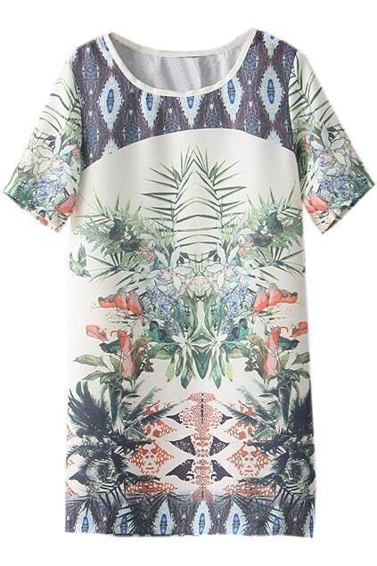Retro Flowers Print Dress