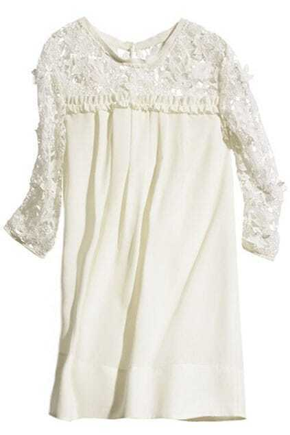 Cut-out Flower Embroidered Cropped White Dress