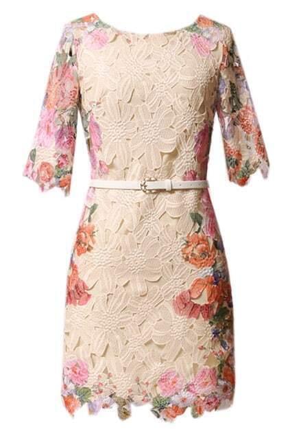 Hollow Flower Print Skinny Lace Apricot Dress